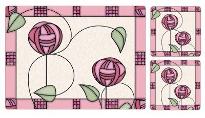 I Style Mackintosh Rose Pink Placemats & Coasters, Set of 4