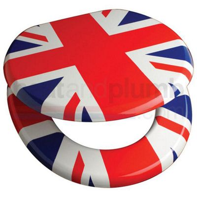 Union Jack Novelty Toilet Seat with Metal Bar Hinge