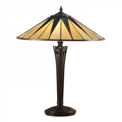Table Light - Tiffany style glass & satin black paint with iridised glass inserts