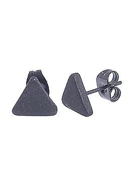 Urban Male Men's Stainless Steel Matte Black Triangular Stud Earrings