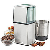 Andrew James Wet & Dry Coffee Nut & Spice Grinder - Mains Powered 70g Capacity - Silver