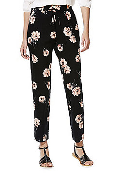 F&F Floral Print Tapered Trousers - Black & Pink
