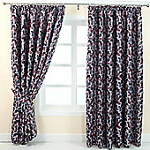 """Homescapes Red and Blue Jacquard Curtain Abstract Design Fully Lined - 66"""" X 54"""" Drop"""