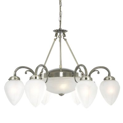 REGENCY 8 LIGHT ANTIQUE BRASS FITTING-TEARDROPS GLASS