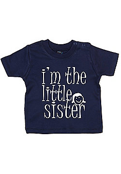 Dirty Fingers I'm the Little Sister Baby T-shirt - Navy