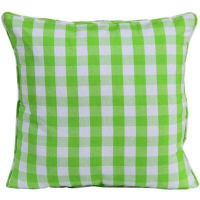 Homescapes Cotton Block Check Green Cushion Cover, 45 x 45 cm