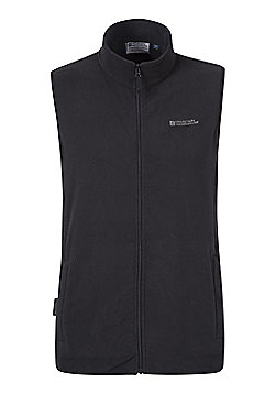 Mountain Warehouse Mens Microfleece Gilet with Breathable and Quick Drying - Black