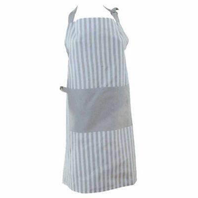 Homescapes Cotton Thin Stripe Grey White Unisex Apron With Pocket