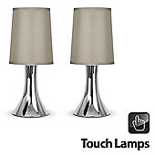 Pair of Trumpet Touch Table Lamps, Chrome & Taupe Shades