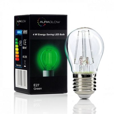 Auraglow 4w G45 Golf Ball Filament LED Vintage Light Bulb - E27 - GREEN