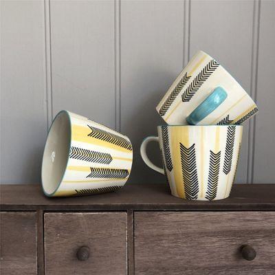 Mustard Chevron Ceramic Mug