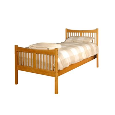 Comfy Living 3ft Single Farmhouse JD shaker in Caramel with Luxury Damask Mattress