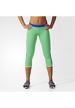 adidas Stella McCartney Womens Stellasport 3/4 Sport Tights - Green - Green & Navy