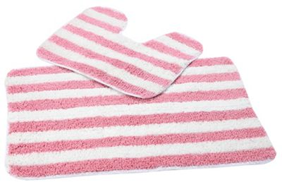 EHC Multi Stripe 2 Pcs Antislip Bath Mat Set