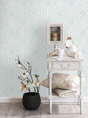 Opus Geo Sequins Wallpaper Soft Teal Holden Decor 35562