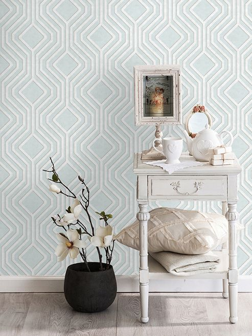 Opus Geo Sequins Wallpaper Soft Teal Holden Decor 35562