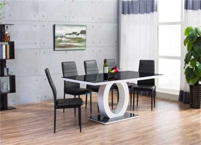 Giovani Black/White High Gloss Dining Table With Six Black Montero Chairs