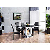 Giovani High Gloss Dining Set With Six Black Montero Chairs