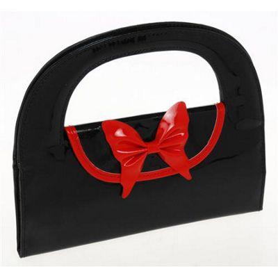 Large Round Jewellery Bag / Purse - Black / Red