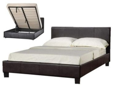 Comfy Living 5ft King Gas Lift Storage Faux Leather Bed Frame in Chocolate with Sprung Mattress