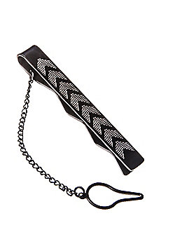Urban Male Solid Stainless Steel Chevron Etched Polished Tie Slide Clip for Men