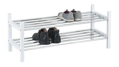 2-Tier Stackable Shoe Rack - White