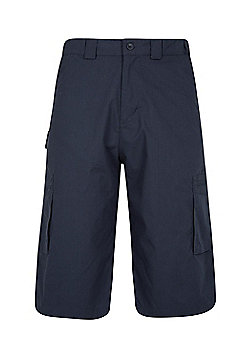 Mountain Warehouse Mens Trek II Long Shorts w/ Partly Elasticated Waistband - Blue