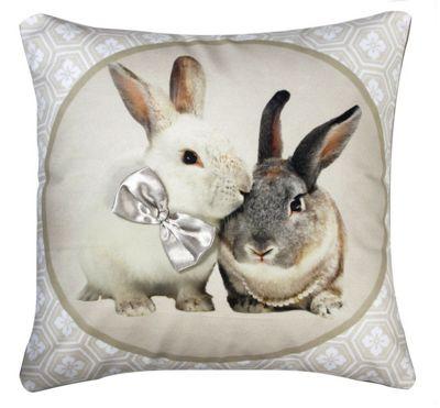 Natural Cream Bunnies Cushion Photographic Design Home Decor