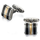 Fred Bennett Black and Gold PVD Stainless Steel Cufflinks