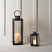 Set of Two Black Metal Battery Outdoor LED Candle Lantern