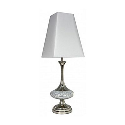 Silver Mosaic Disc Table Lamp With 12 Inch Pure White Shade