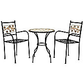Charles Bentley Garden Terracotta Flower Bistro Set Table & Chairs Anti-Rust
