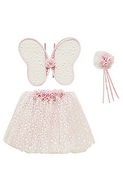 F&F Glitter Mesh Wings, Wand and Tutu Dress-Up Set - Pink