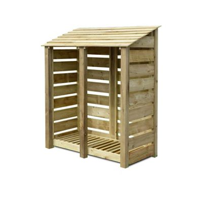 Normanton wooden log store - 6ft - Natural - Slatted