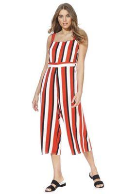 F&F Striped Culotte Jumpsuit Orange Multi 16