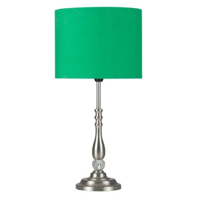 Clyde Candlestick Table Lamp with Jewel, Brushed Chrome