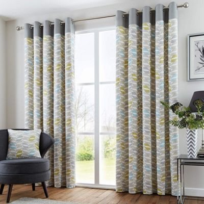 Fusion Copeland Duck Egg Eyelet Lined Curtains - 90x72 Inches (229x183cm)