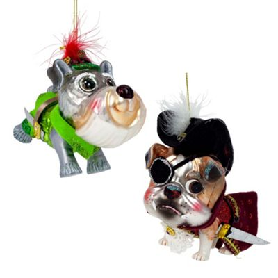Peter Pan & Captain Hook Dog Glass Christmas Tree Baubles