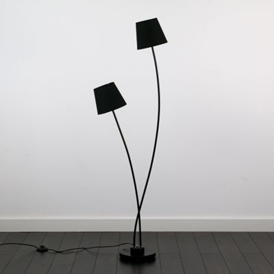Eugenie Black 2 Way Satin Black Floor Lamp & Blacks