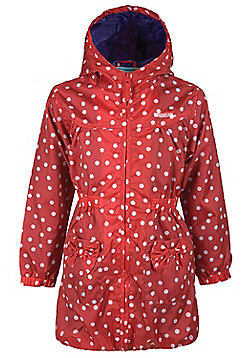 Sammy Mac Kids Girls Water Resistant Lightweight Hooded Long Coat Jacket - Red