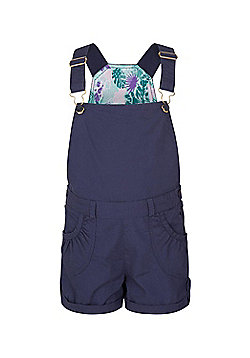 Mountain Warehouse Girls 100% Cotton Shore Dungarees w/ Adjustable Straps - Blue