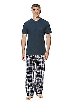 F&F Checked Bottoms Loungewear Set - Teal