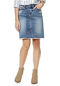 F&F Frayed Hem Denim Skirt - Denim