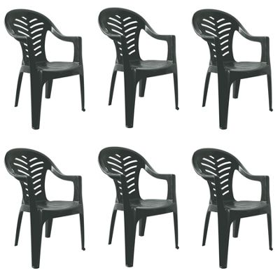 Resol Palma Plastic Home Garden Armchair - Grey - Pack of 6