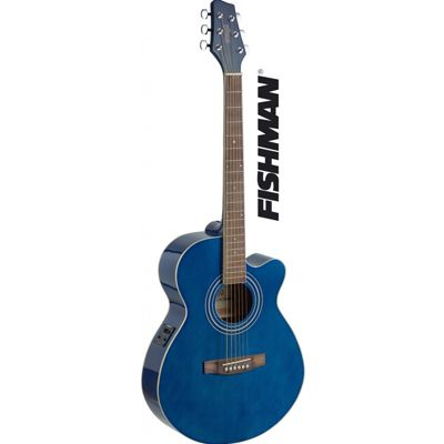 Stagg SA40 Mini Jumbo Electro Acoustic - Blue - with 6 Months Free Online Lessons