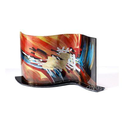Nexus Glass Art Ornament Black/Orange/Multi-Colour