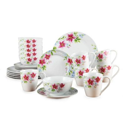 24 Piece Lily Porcelain Dinner Set