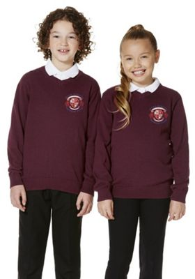 Unisex Embroidered V-Neck Cotton School Jumper with As New Technology 15-16 years Burgundy