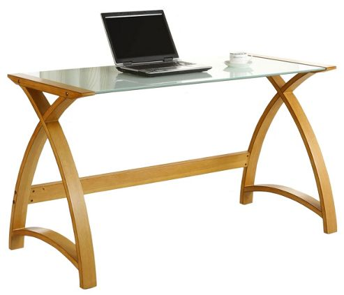 Jual Curve - Curved Oak and White Glass Laptop Desk