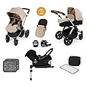 Ickle Bubba Stomp V3 AIO Travel System/Isofix Base/Buggy Lights - Blue (Silver Chassis)